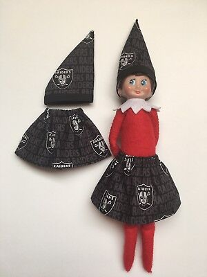 Christmas Scout Elf Skirt & Hat  - Oakland Raiders NFL Game Day Football - Christmas Elf Outfit