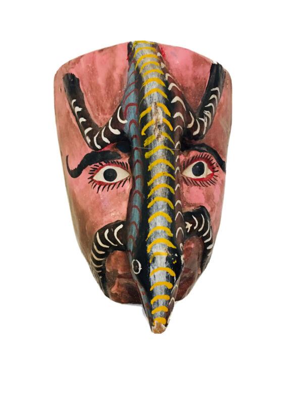 """VTG Mexican Folk Art Carved Decorative Lustful  Mask Mascara Guerrero 10"""""""