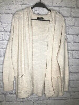 American Eagle L Beige Hoodie Cardigan Sweater Open Front Pockets Cotton Knit  American Eagle Cotton Sweater