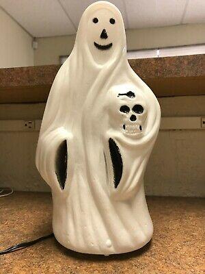 Vintage Blow Mold Ghost Skeleton Head Skull Tabletop Halloween
