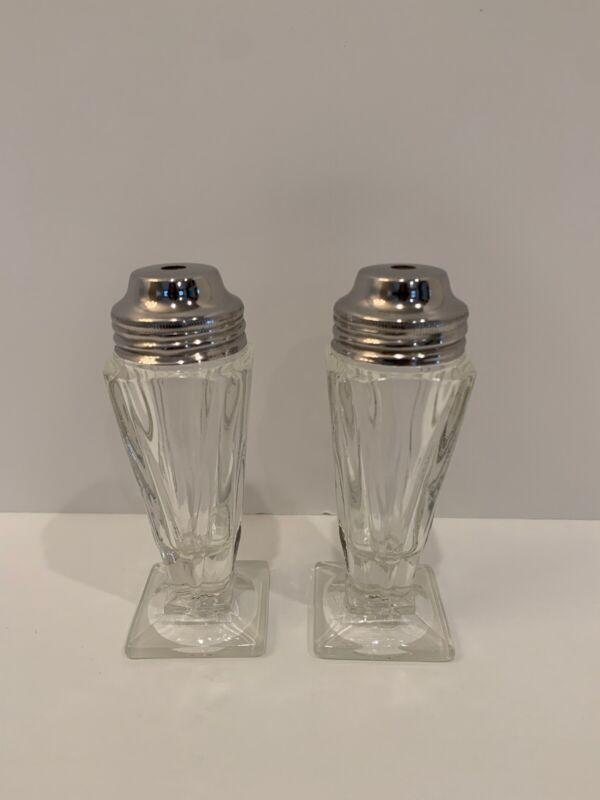 vintage crystal salt and pepper shakers