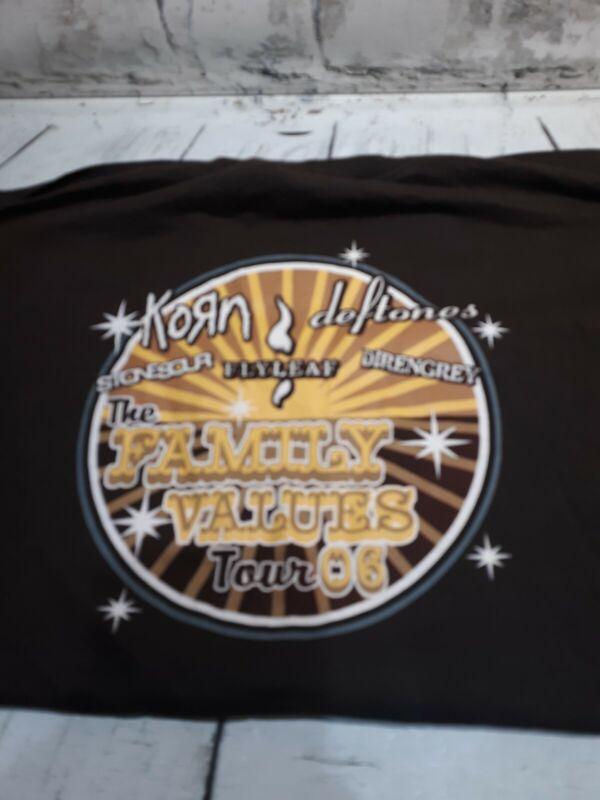Mens KORN family Values Tour Deftines Cotton Tshirt Size XL Brown