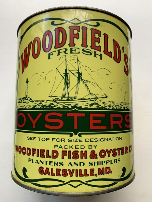 Vintage 1 Gallon Woodfield's Oysters Tin/Can