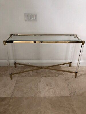 Contemporary Beveled Glass Metal Gold Acrylic Console Sofa Table Furniture