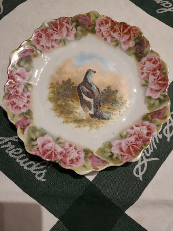 """Vintage 8 3/4"""" Wild Bird & Rose Animal Game China Decorative Hanging Plate"""
