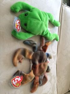 Claud the Crab and Legs the Frog Beanie Beanie Babies