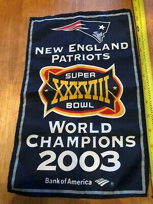 New England Patriots Super Bowl XXXVIII 38 2003 World Champions 14 x 8.5 Banner -