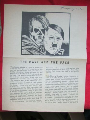 """RARE WW2 :""""The mask and the Face"""" Anti Hitler England Propaganda LEAFLET/Poster!"""