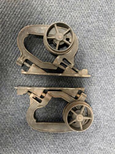Pair (2) Vintage Antique Barn Pocket Door Rollers Similar to Wilcox Richards