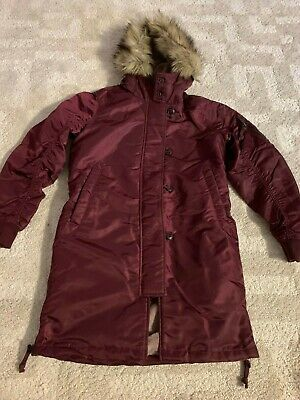 Abercrombie & Fitch Women's SHINY Nylon Parka Coat Jacket Small Burgundy NWT, used for sale  Chicago