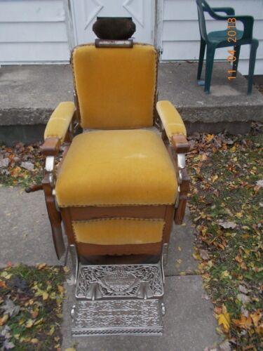 Antique , Koken Congress Oak  Barber Chair Pat. 1891 -Circa 1901