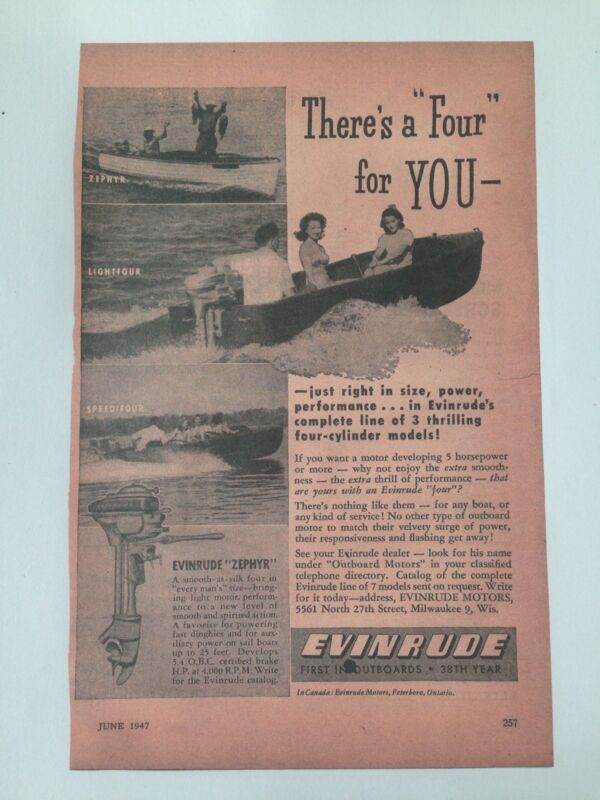 Evinrude Outboards 1947 Ad- Copy/ Man Cave Boater Enthusiast
