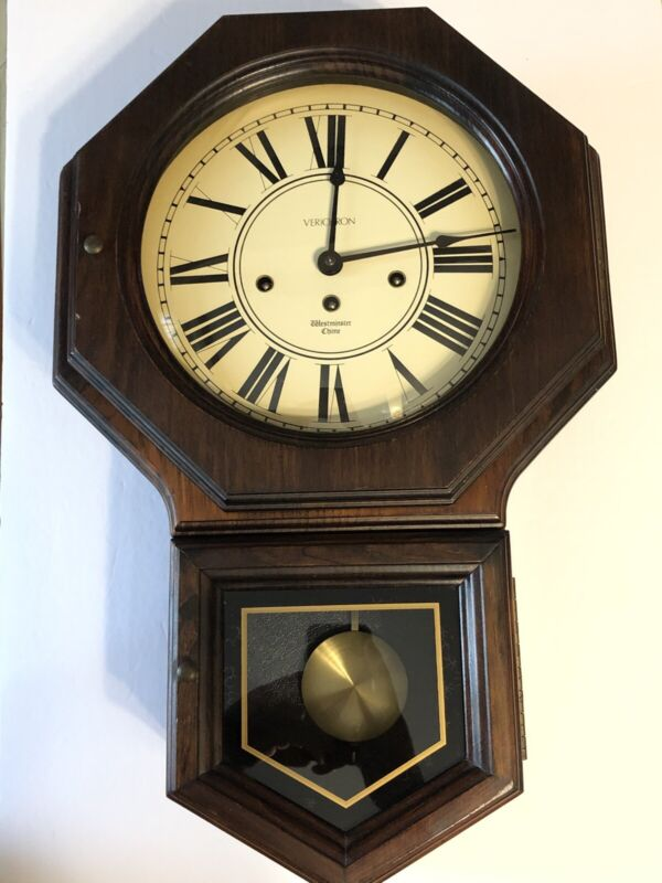 VERICHRON  Wall Clock Westminster Chime w/ Key Vintage  Wood Case