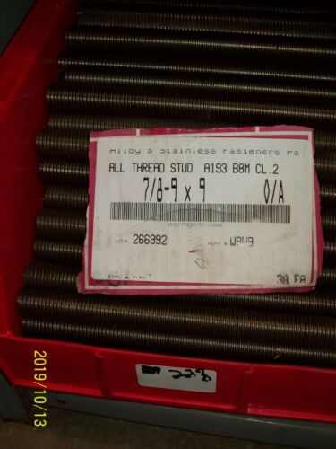 """(1) STAINLESS ALL THREAD STUD 7/8-9"""" x 9"""" FULLY THREADED B8MSH A193 B8M CL.2"""