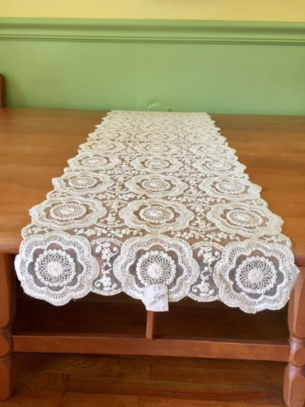 """Vintage Antique White Lace table runner A Kaye Walt Creation NOS  40"""" X 13"""""""