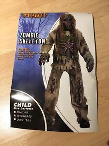 Halloween Zombie Skeleton Child Costume Medium size 8-10