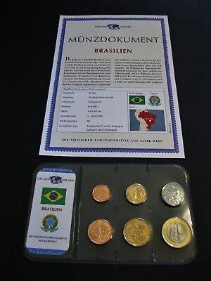 Brasilien  Kursmünzensatz  mit Münzdokument !! (Münze Brasilien)