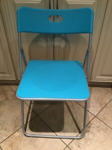 IKEA Turquoise folding plastic / metal chair