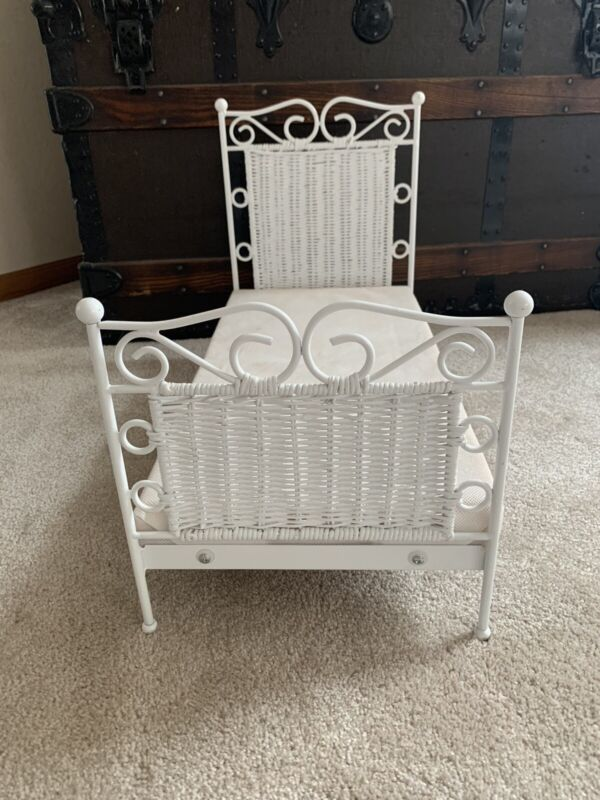 "Magic Attic Bed White Metal & Wicker Bed Fits 18"" American Girl Doll"