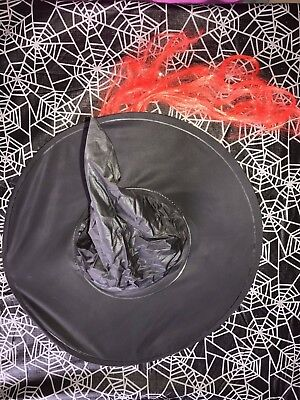 girls womens ONE SIZE black HALLOWEEN WITCH HAT red hair attached CUTE clean @@ - Cute Witch Hat