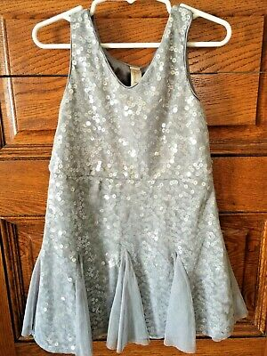 Girls CHROKEE Silver-Gray Sequins Party Dance DRESS XS 4-5