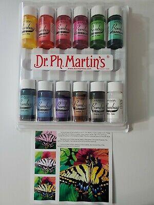 Dr. Ph. Martin's Bombay India Ink 1/2 Oz. Set 1, 12 Colors + 8 Mini Spray Bottle