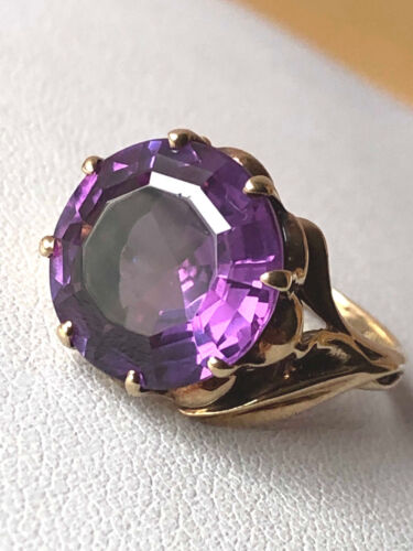 VINTAGE KIMBERLY 10K GOLD SYNTHETIC ALEXANDRITE COLOR CHANG PURPLE SAPPHIRE RING