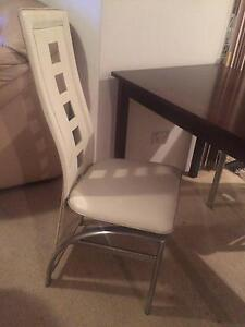 cream leather dining chair with stainless legs 30 00 2 x cream leather