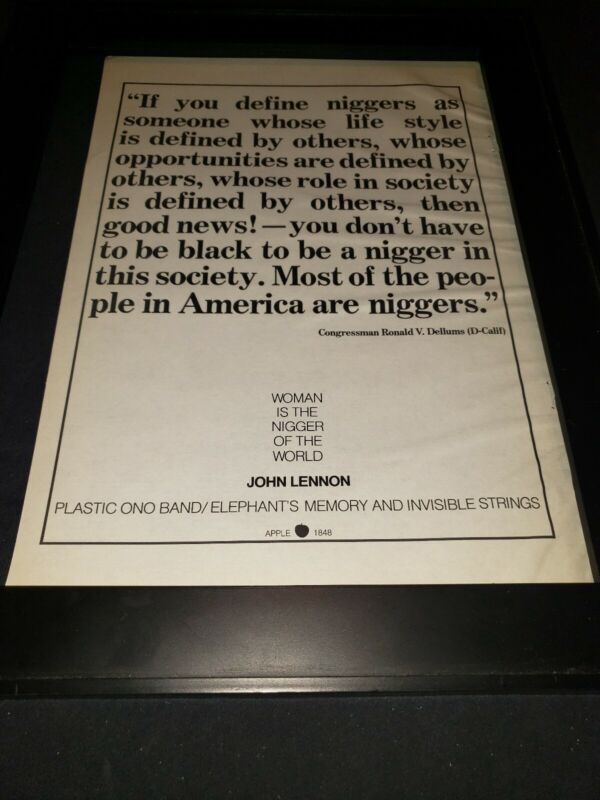 John Lennon Woman Is The Ni--er Of The World Rare Apple Promo Poster Ad Framed!