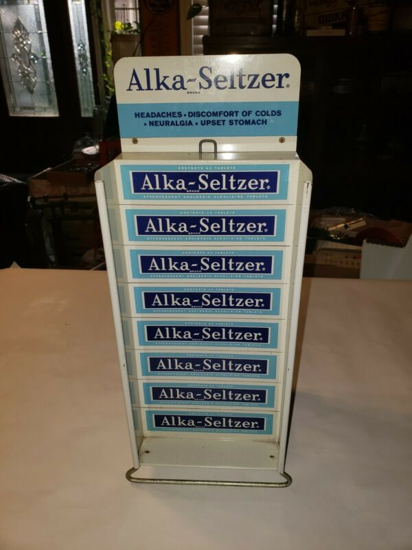 Vintage Alka Seltzer Double Sided Metal Counter Top Store Advertising Display