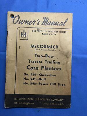Mccormick 240 241 242 Row Corn Planter Operators Manual Original