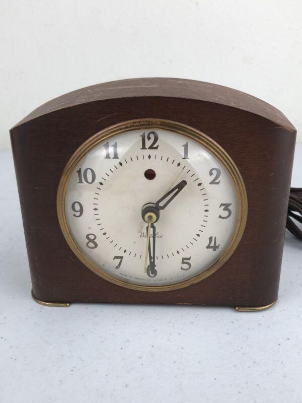 Vintage Westclox S7-G Wood Electric Alarm Clock Tested Works