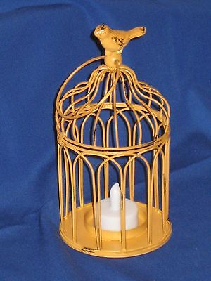 Distressed Look Bird Cage, LED Tealight Candle Holder, Metal, Color-Yellow