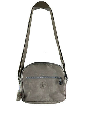 KIPLING KEEFE Dusty Grey Tonal Double Zip Crossbody Shoulder Bag Purse w/ Monkey