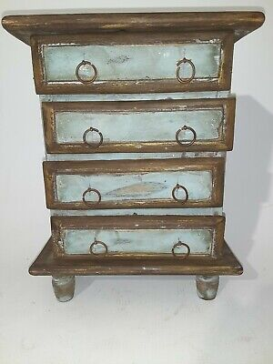 Distressed Country Shabby Chic Wood Jewelry Box mini Dresser /Armoire Farmhouse