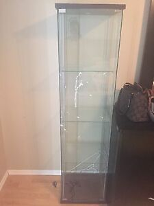 Glass Ikea cabinet - good condition with minor wear
