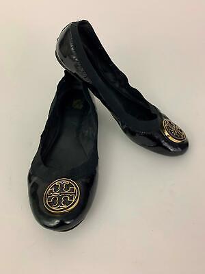 TORY BURCH Black patent Leather REVA logo ballet flats (Tory Burch Black Patent Leather Reva Flats)
