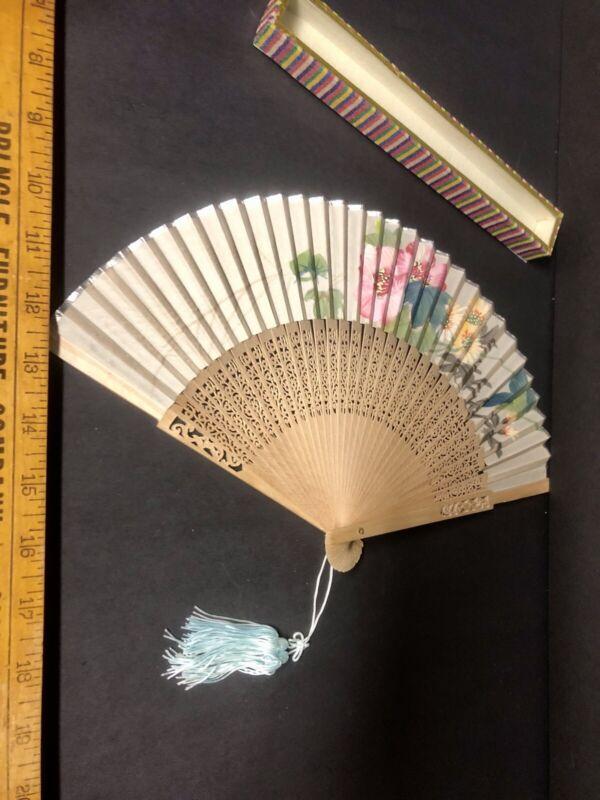 Vintage Oriental/Asian Hand Fan with Glass Topped Box Blue Tassel
