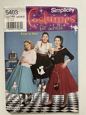 Poodle Skirt Costume For Adults (Simplicity COSTUMES For Adults # 5403 POODLE SKIRTS Size 6-12)
