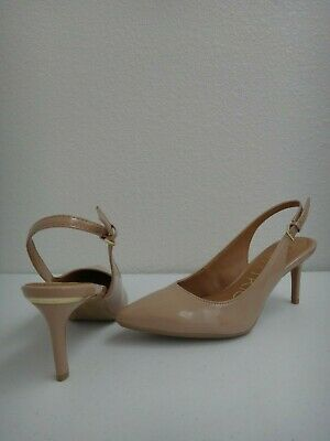CALVIN KLEIN Womens High Heel Pumps Slingbacks Beige Patent Leather Sz 6,6.5,8.5