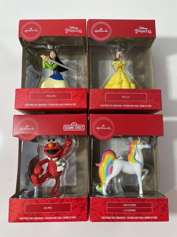 Lot Of 4 Hallmark Christmas Ornaments Disney Belle, Mulan, Elmo, Unicorn