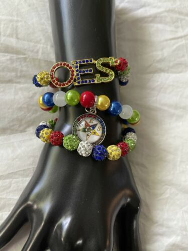 Order of The Eastern Star Bling Beaded Charm Bracelet Set