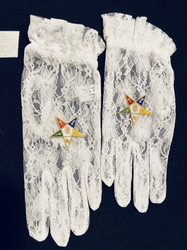 Masonic Eastern Star OES Lace Gloves