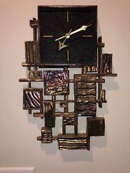 Mid-Century Modern Retro Vintage Brutalist Industries Syroco Wall Clock USA Made