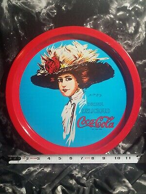 Vintage COCA COLA Red Round Metal Serving Tray Picture Lady 1982 Coke