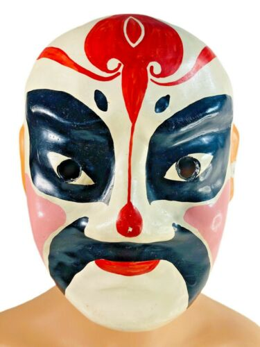 Vintage Chinese Opera Mask Plaster Hand Painted Demon Full-Face