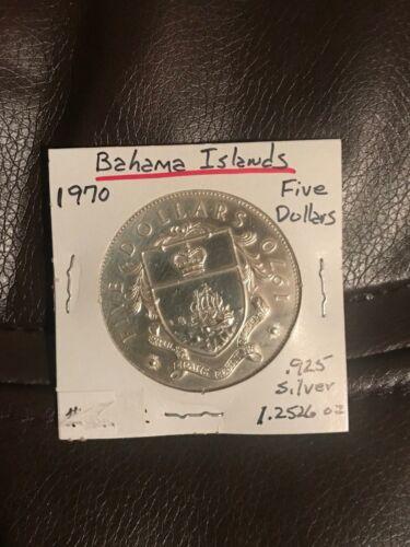 1970 Bahamas $5 Silver Coin