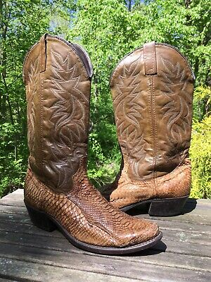Vintage Acme Brown SNAKESKIN Cowboy Boots 8.5 D Rockabilly Motorcycle USA Made