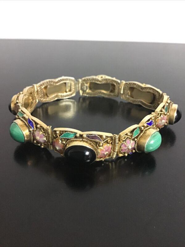 Antique Chinese Export Enamel Sterling Silver Bracelet