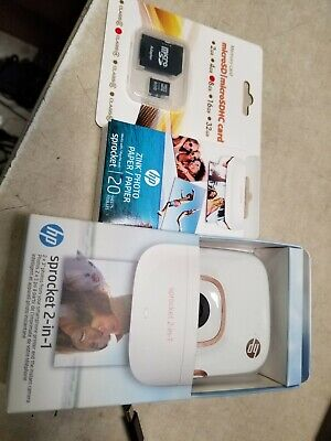 HP Sprocket 2-in-1 Portable Photo Printer & Instant Camera 2FB96-00038 White -FS